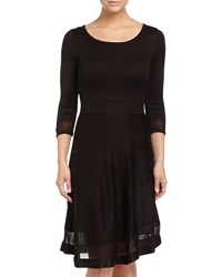 Marc New York By Andrew Marc 3 4 Sleeve Fit And Flare Sweater Dress Black