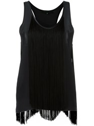 Barbara Bui Fringed Panel Tank Top Black