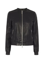 Karen Millen Leather Bomber Jacket Black
