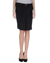 Jaggy Knee Length Skirts Black