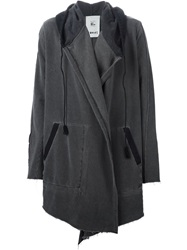 Lost And Found Rooms Draped Open Front Hooded Jacket Grey