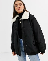 French Connection Githa Jacket With Faux Shearling Collar Black