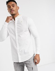 Sik Silk Siksilk Long Sleeve Shirt In White With Tape Grandad Collar