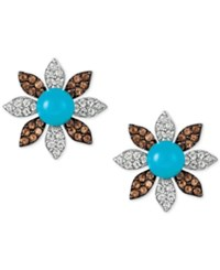 Le Vian Multi Gemstone Flower Stud Earrings 8 3 8 Ct. T.W. In 14K White Gold