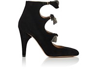 Chloe Women's Studded Bow Suede Ankle Booties Black
