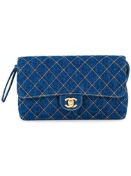 Chanel Vintage Quilted Small Backpack Blue
