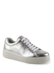 Prada Metallic Leather Platform Sneakers Silver