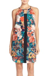 Adelyn Rae Print Woven Blouson Slipdress Peacock