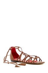 Charles Jourdan Iggy Woven Wrap Around Sandal Brown