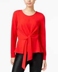 Bar Iii Tie Front Peplum Top Only At Macy's Chili Red