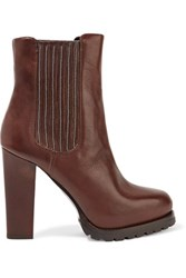 Brunello Cucinelli Embellished Leather Ankle Boots Dark Brown