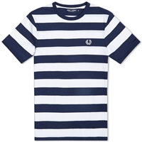 Fred Perry Striped Sports Tee White