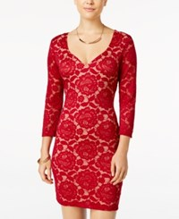 Crystal Doll Juniors' Open Back Lace Bodycon Dress Wine
