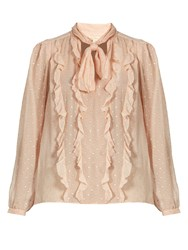 Rebecca Taylor Spot Fil Coupe Silk Blend Chiffon Blouse Light Pink