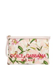 Dolce And Gabbana Lily Print Canvas Pouch Pink Multi