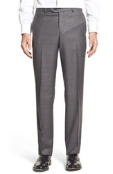 Men's Nordstrom Men's Shop Flat Front Sharkskin Wool Trousers Mid Charcoal