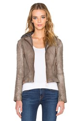 Doma Hooded Moto Jacket Taupe