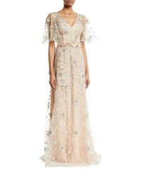 David Meister Embroidered Flutter Sleeve Gown Rose Gold