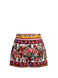 Dolce And Gabbana Carretto Print Cotton Shorts Pink Multi