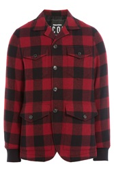 Dsquared2 Printed Virgin Wool Jacket Red