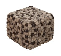 Surya Summit Cube Pouf Brown