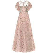 Costarellos Embellished Tulle Gown Pink