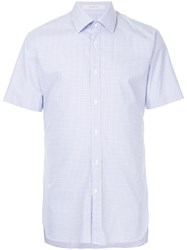 Gieves And Hawkes Checked Short Sleeves Shirt Blue