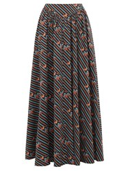 Staud Anita Electric Frog Print Cotton Blend Maxi Skirt Black Multi