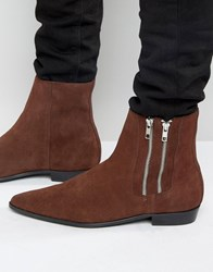 Religion Pistol Double Zip Suede Boots Brown