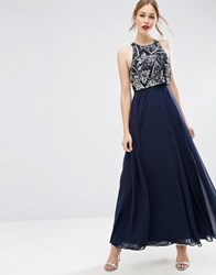 Asos Embellished Crop Top Maxi Dress Navy Blue