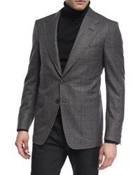 Tom Ford Prince Of Wales Plaid Wool Jacket Gray