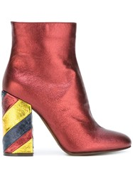 L'autre Chose Striped Block Heel Ankle Boots Red