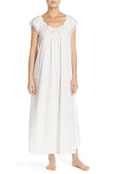 Carole Hochman Women's Designs Long Cotton Nightgown Grey Lace