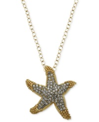 Kaleidoscope 18K Gold Over Sterling Silver Necklace Yellow Swarovski Crystal Starfish Pendant 3 4 Ct. T.W.