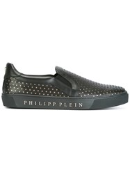 Philipp Plein Stars Embossed Slip On Sneakers Black