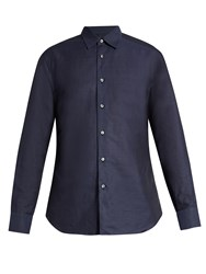 Brioni Loose Fit Linen And Cotton Blend Shirt Navy