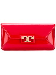 Tory Burch Gold Buckle Clutch Red
