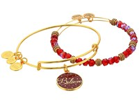 Alex And Ani Believe Set Of 2 Color Infusion Wine Shiny Gold Bracelet Metallic