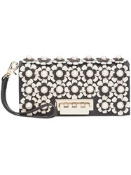 Zac Posen Flower Embellished Clutch Black