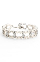 Women's Nadri Double Row Faux Pearl And Crystal Bracelet