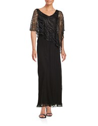 J Kara Beaded Popover Gown Black