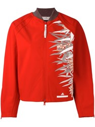 Adidas By Stella Mccartney Print Detailing Bomber Jacket Red