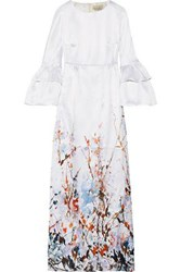 Merchant Archive Ruffled Printed Satin Crepe Gown Ivory