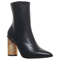 Kg By Kurt Geiger Raffle Pointed Toe Block Heel Ankle Boots Black Leather