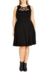 City Chic Plus Size Women's 'Crosshatch' Fit And Flare Dress