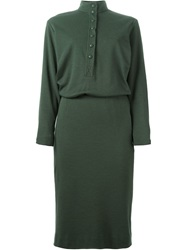 Jean Louis Scherrer Vintage Front Button Shirt Dress Green