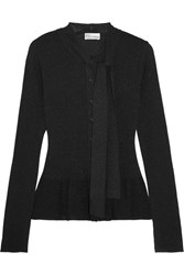 Red Valentino Redvalentino Metallic Ribbed Knit Peplum Cardigan Black