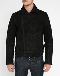 Scotch And Soda Black Burnished Leather Biker Jacket With Wool Lining