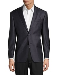 Michael Kors Patterned Suit Jacket Grey Blue