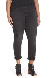 Plus Size Women's Kut From The Kloth 'Catherine' Distressed Stretch Boyfriend Jeans Black